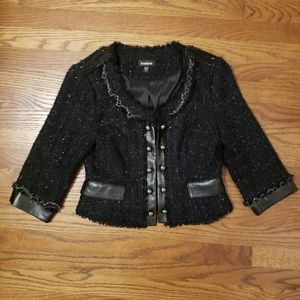 Bebe tweed blazer embellished black metallic 4